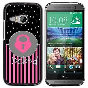 For HTC ONE MINI 2 / M8 MINI Case , Heart Polka Dot Pink Black Text - Diseño Patrón Teléfono Caso Cubierta Case Bumper Duro Protección Case Cover Funda