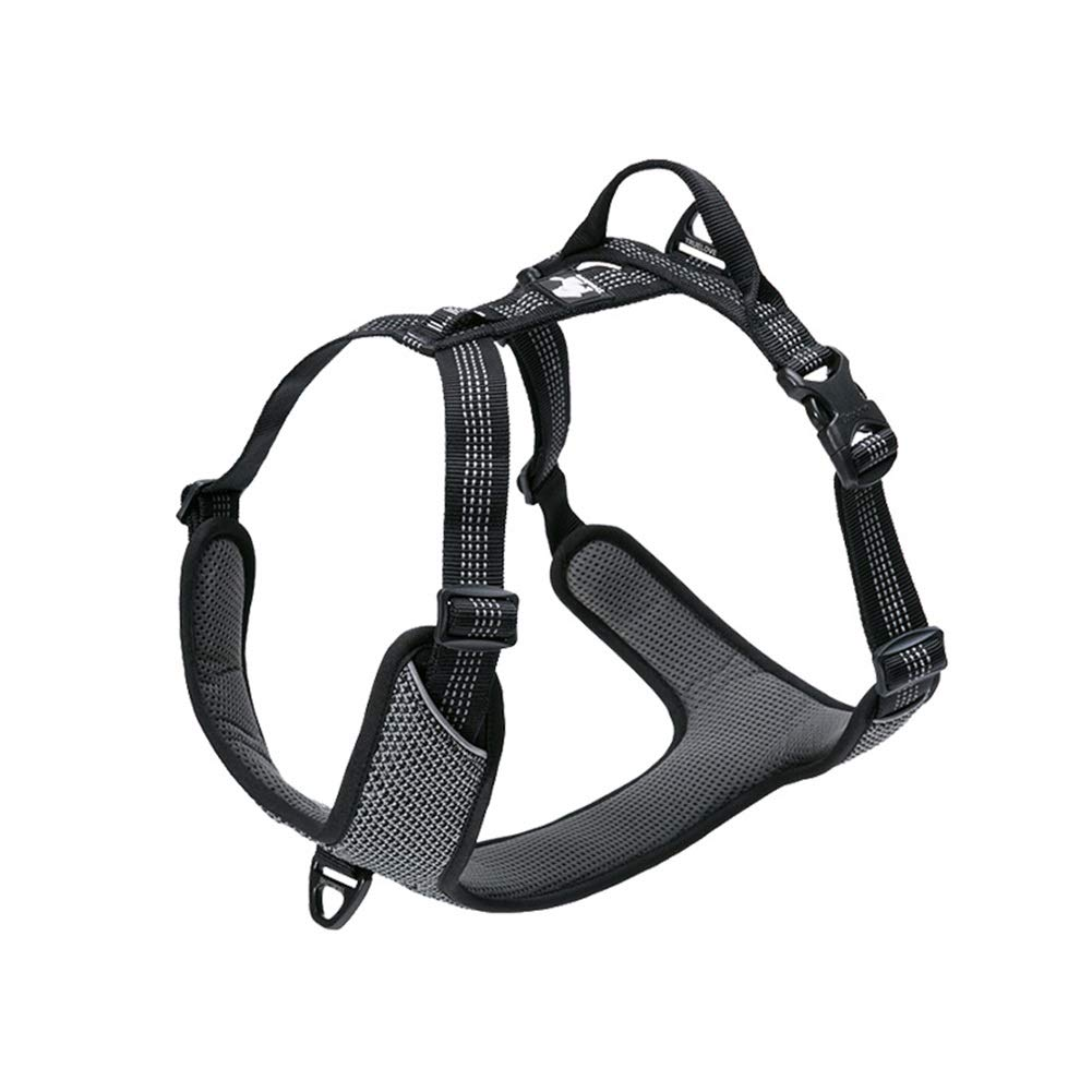 BLACK S(46-56cm) BLACK S(46-56cm) Dog Vest Harness, Comfortable Breathable Adjustable Pet Chest Strap Traction Rope Chain Hyena for Small Medium Large golden Retriever Safety Harness (color   Black, Size   S(46-56cm))