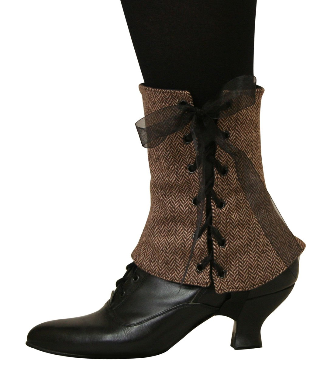 Historical Emporium Women's Steampunk Reversible Tweed Spats L Brown/Black