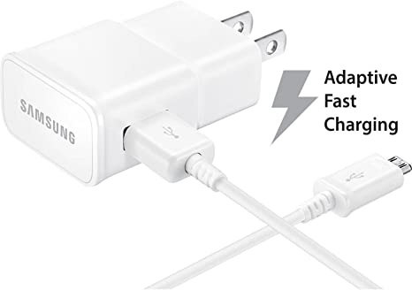 Verizon Samsung Galaxy J3 (2016) Adaptive Fast Charger Micro USB 2.0 Cable Kit! [1 Wall Charger + 5 FT Micro USB Cable] AFC uses dual voltages for up ...