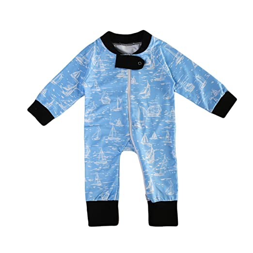 b5fdfbe7f384 ITFABS Baby Boy Cute Print Blue Romper Jumpsuit Long Sleeve One-Piece  Coming Home Outfits