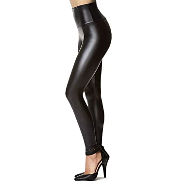 c9743eeec286c6 Tagoo Women's Stretchy Faux Leather Leggings Pants, Sexy Black High Waisted  Tights (X-S(