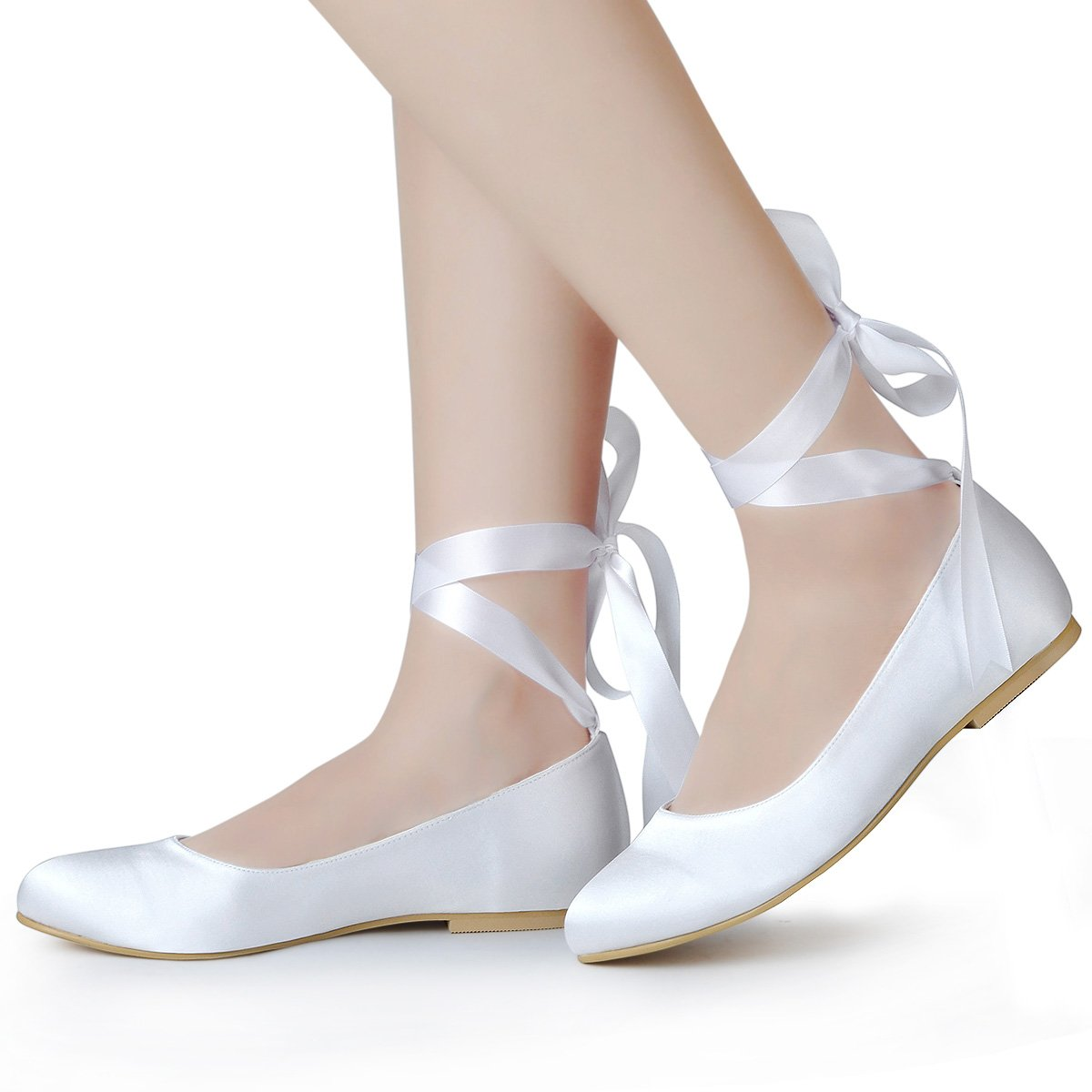 1920s Wedding Shoes | Art Deco Wedding Shoes ElegantPark Women Comfort Flats Closed Toe Ribbon Tie Satin Wedding Bridal Shoes $42.95 AT vintagedancer.com