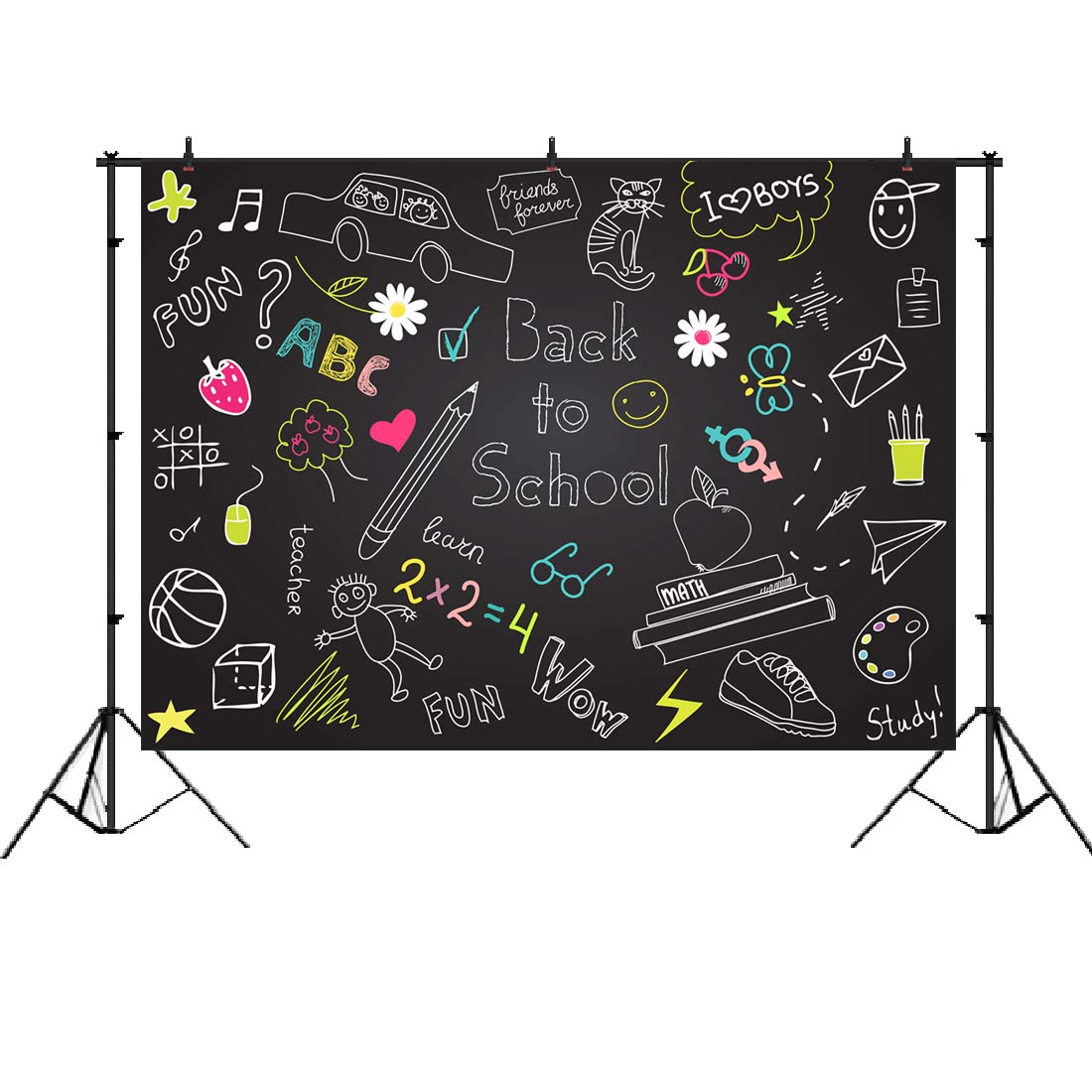 Back to School Backdrop Blackboard Colorful Chalk Drawing Classroom Background for Kids Back to School Theme Party Decorations Photography Backdrops 7x5ft
