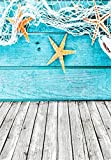 AOFOTO 5x7ft Child Photography Background Kid Photo Shoot Backdrops Starfish Fishing Nets Deck Wall Wooden Floor Girl Toddler Artistic Portrait Scene Studio Props Video Digital