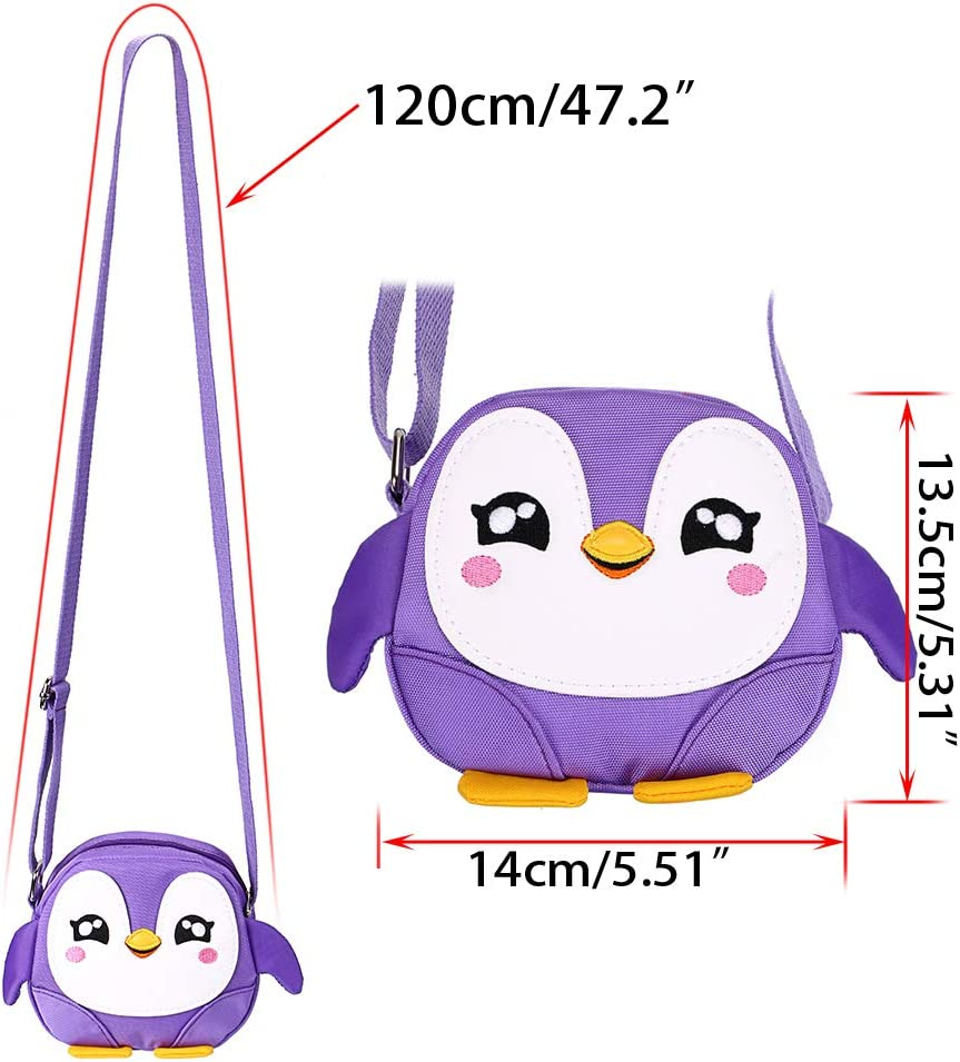 Purple Penguin) Sumnacon Little Girls Purse Small Stocking Fillers Kids Shoulder Handbag Cross Body Messenger Bag with Zipper