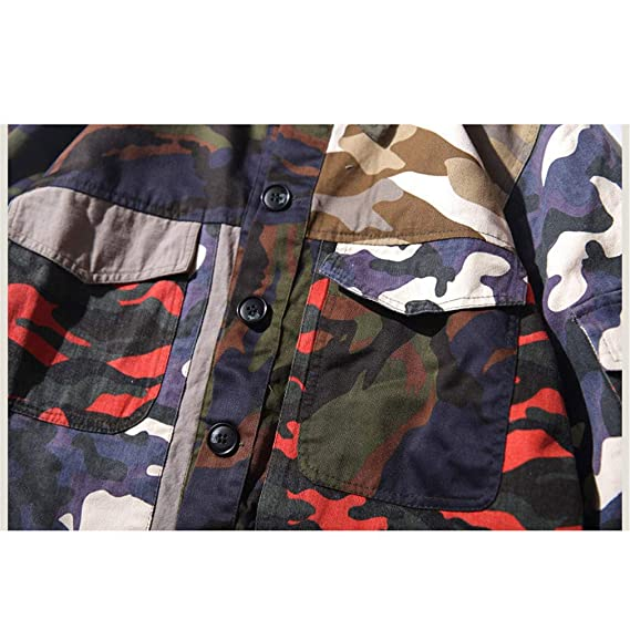 Amazon.com: Mens Camouflage Jackets Hip Hop Vintage Block Patchwork Jacket Streetwear Casual Bomber Jacket Autumn: Clothing