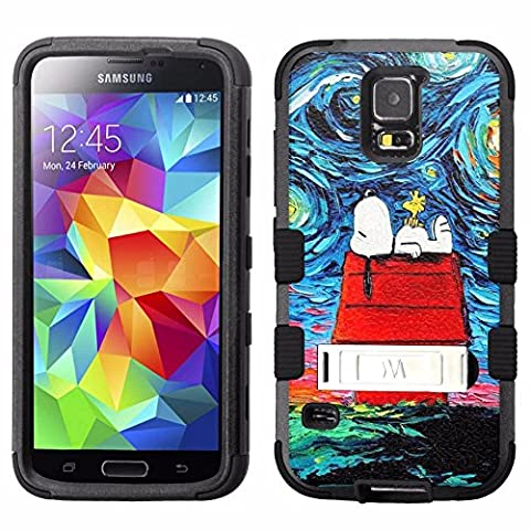 for Samsung Galaxy S5, Hard+Rubber Dual Layer Hybrid Heavy-Duty Rugged Armor Cover Case - Snoopy Peanuts #Starry (Snoopy S5 Case)