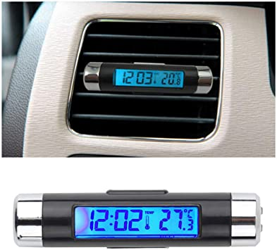 Car Air Vent Clip Blue LED Backlight Digital Display Thermometer Digital Clock