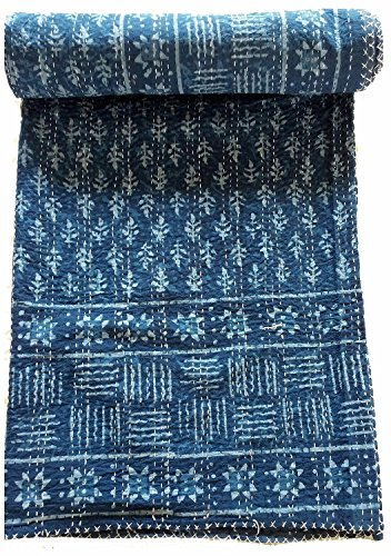 Natural Blue Indigo Hand Block Print Indian Cotton Kantha Quilt,Handmade Kantha Stitched Bed Cover/Blanket