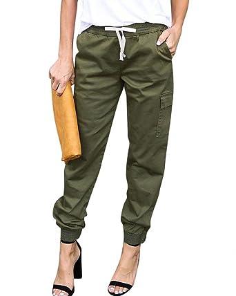 de48f9d5829c Pantalon De Loisirs Femme Taille Élastique avec Cordon De Serrage Pantalon  Cargo Fashion Large Désinvolte Couleur
