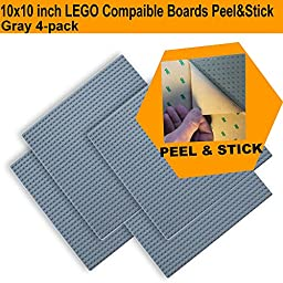 Peel and Stick, Self Adhesive Baseplate Building Boards (4-pack) Large Gray 10\