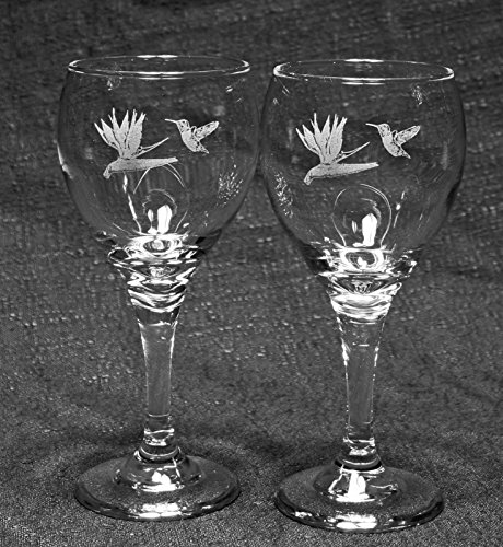 Hummingbird with Bird of Paradise Flower Laser Etched Wine Glass Set (2, TDW)