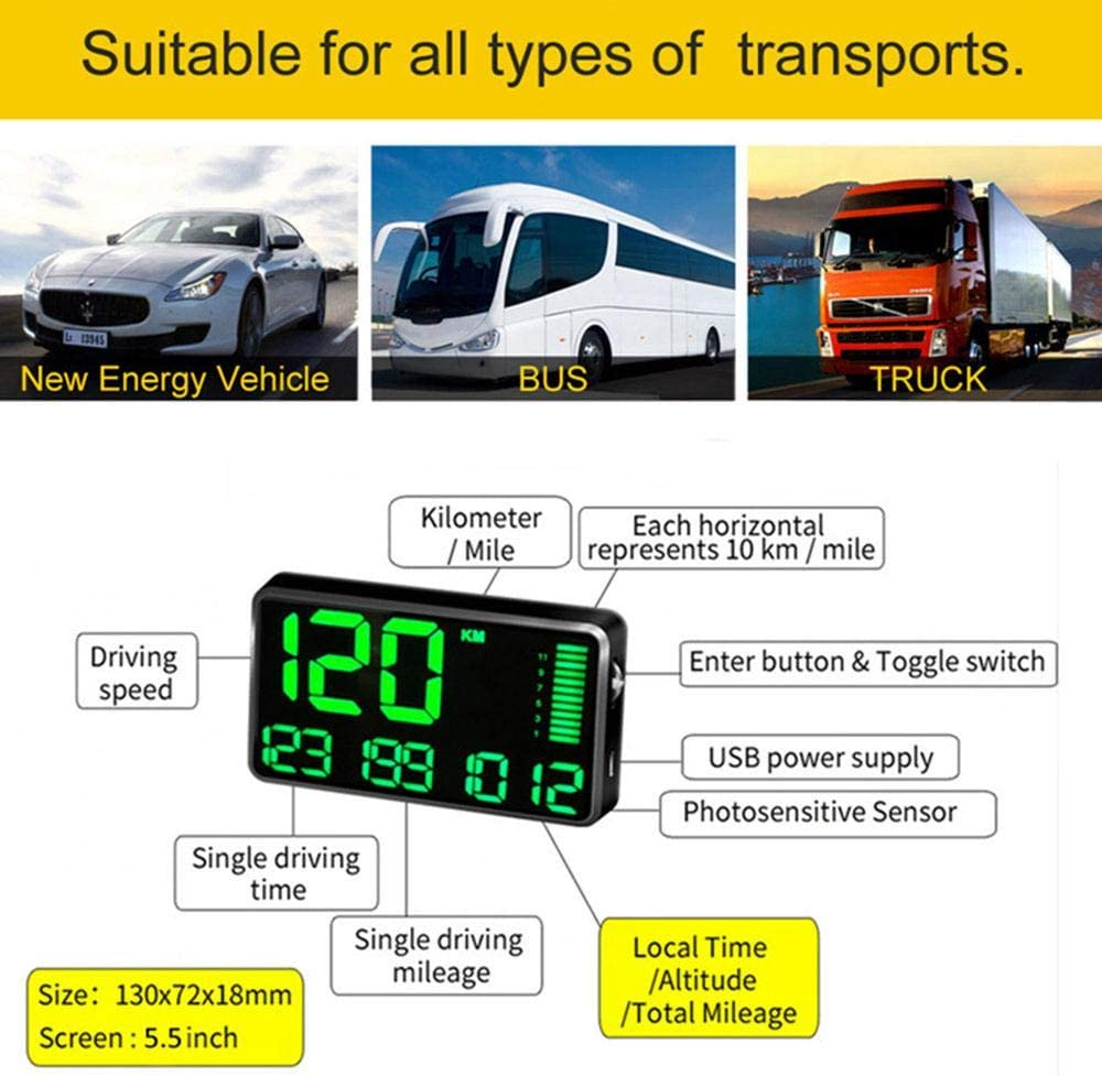 GPS-Tachometer mit USB-Ladekopf und /Übergeschwindigkeits-Alarm f/ür alle Fahrzeuge