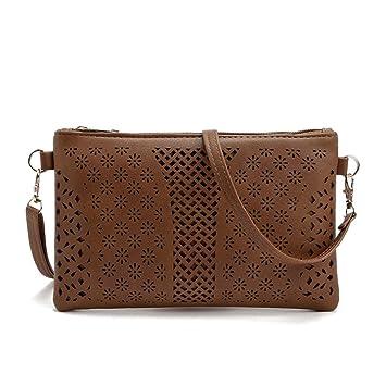 db182433015 Women Messenger Bags PU Hollow Out Crossbody Bags Shoulder Purse Handbags  2018 Duseedik (Coffee)