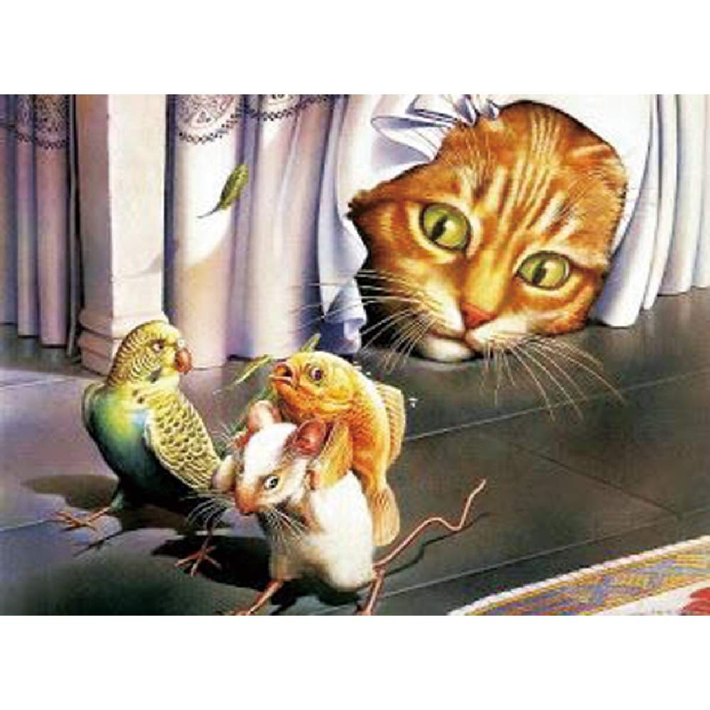 DIY Handwork Store 5D Handmade DIY Drill Full Crystal Round Diamond Painting Kit Cat and Parrot Cute Cross Stitch Mosaic Embroidery Art Painting Gift Home Decoration 23.23x 17.72