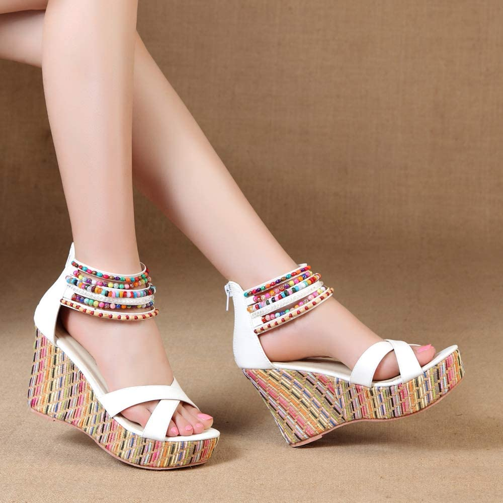 Women Luxury Rhinestone Beads Sandals Pointy Toe Shoe Wedge Low Heel Yoooc