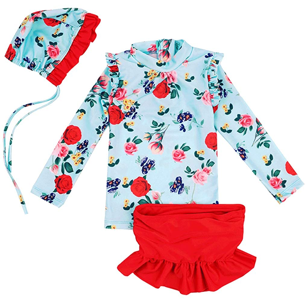 Kids Girls 3Pcs Long Sleeve Floral UV Sun Protection Rash Guards Swimsuit Bathing Suit LOTUCY
