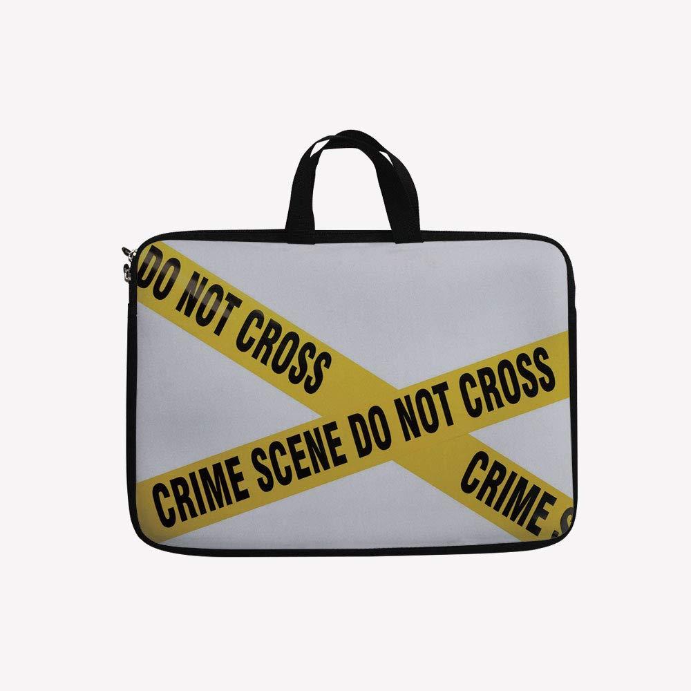 上品な 3Dプリントダブルジッパーラップトップバッグ、Police B07KZQ47WH 14 Do Not Cross Restricted Tape Restricted Area Crime、14インチキャンバス防水ラップトップショルダーバッグ、14インチ/14.1インチラップトップと互換性あり 14 inch(14.3