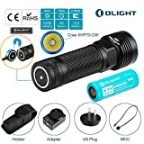 OLIGHT Bundle R50 Pro Seeker Police Tactical Flashlight Military Grade Law Enforcement EDC Light Cree XHP70 Cool White LED 3200 Lumens Powered by 4500mAh Lithium Rechargeable Battery w Patch For Sale
