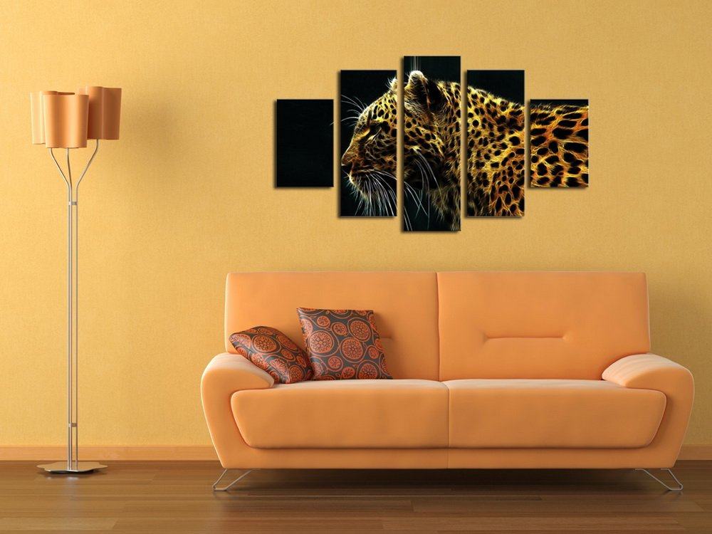HappyHouseArt 2017 5 Piece Canvas Art Leopard Animal Canvas Printing Wall Decoration for Home Oil Painting For Living Room No Frame