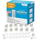 Baby Proofing Magnetic Cabinet Locks - 12 Locks + 2 Keys Bundle with Extra Child Proof Replacement Magnet Key