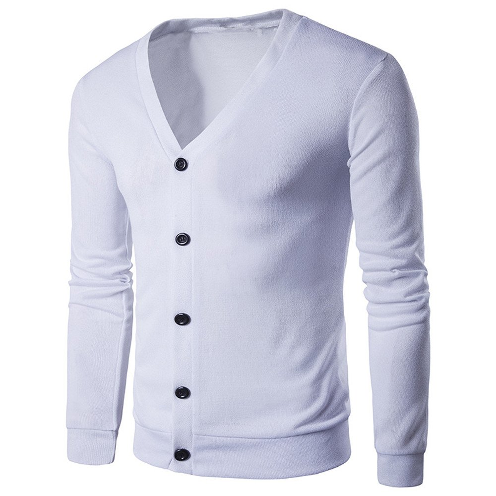 Clothes For Men Charberry Simple Fashion Solid Color Sweater Button V Neck Long Sleeve Knit Cardigan Coat