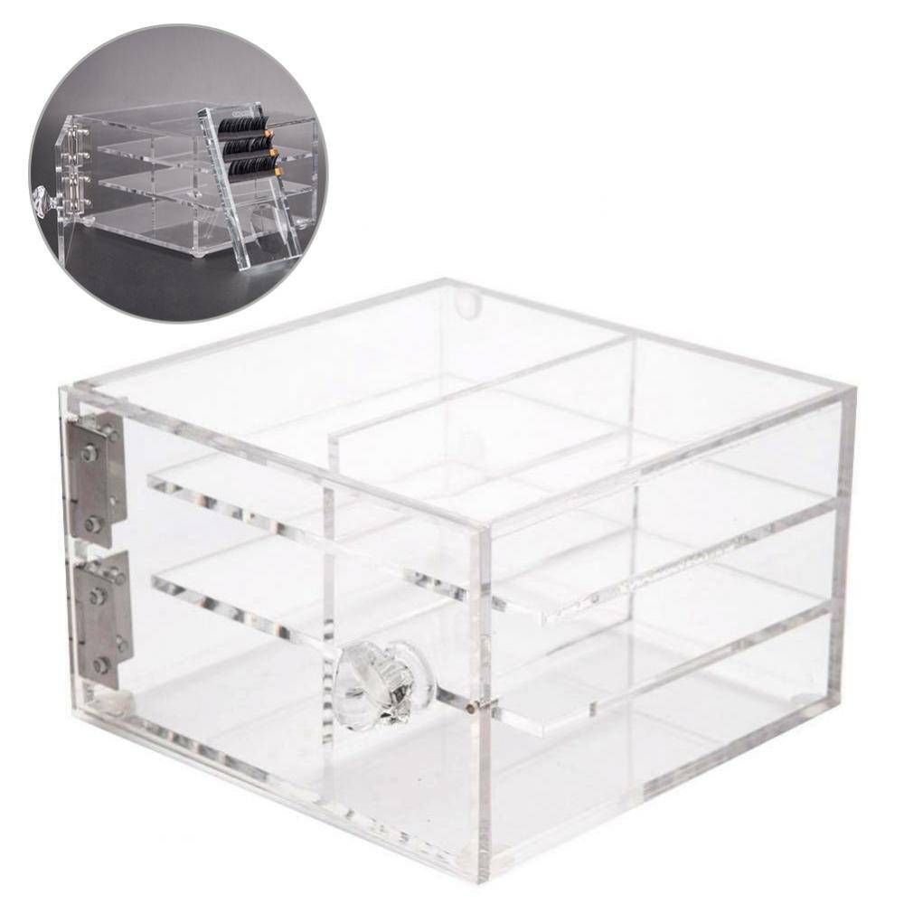 6 Layers Eyelash Storage Box, Clear Acrylic Storage Box Make Up Organizer Eye lash Glue Palette Holder Grafting Eyel Yotown