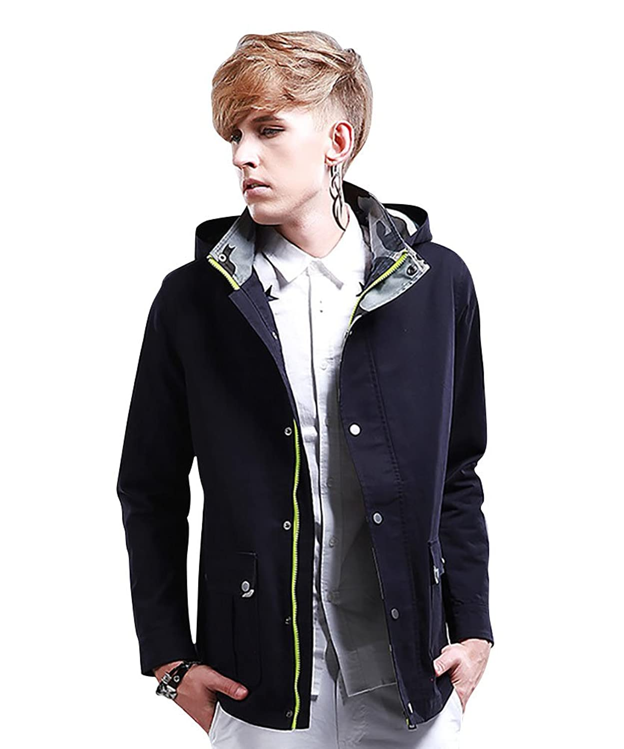 ZKOO Men's Lightweight Jacket Cotton Trench With Removable Hood Men Coat Outwear
