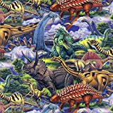 Dinosaurs Roam Cotton Fabric by The Yard