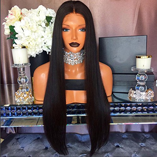 [Human Hair Straight 100% Real Hair Brazilian Hair Glueless Lace Front Wig Size:20Inch] (Wild Curl Black Wig)
