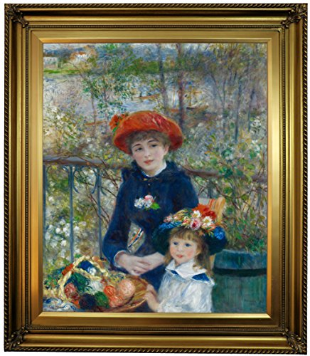 Historic Art Gallery Two Sisters (on the Terrace) 1881 by Pierre-Auguste Renoir Framed Canvas Print, 20