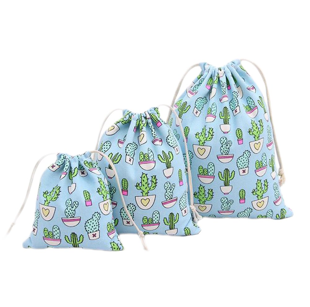 Demarkt Canvas Cactus Drawstring Bags Candy Bags Jewelry Pouches Coin Pouch Gift Pouch (Light Blue)