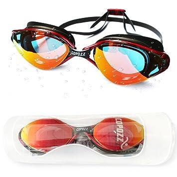 COPOZZ Gafas espejadas para natación, con filtro antiniebla, protección UV, faldón de silicona