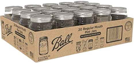 Ball Glass Canning Mason 16 oz Regular Mouth Jars, 20 ct with Lid Set, Ideal for Food Canning, Country Wedding Favors, Shower Favors, Beverage Glass (20 Count Clear)
