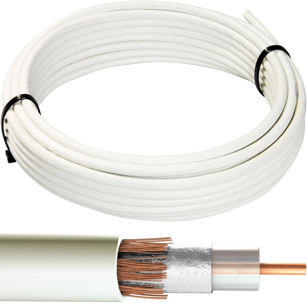 50 m blanco RG6 Cable Coaxial – cobre – Carrete de Alambre de ...
