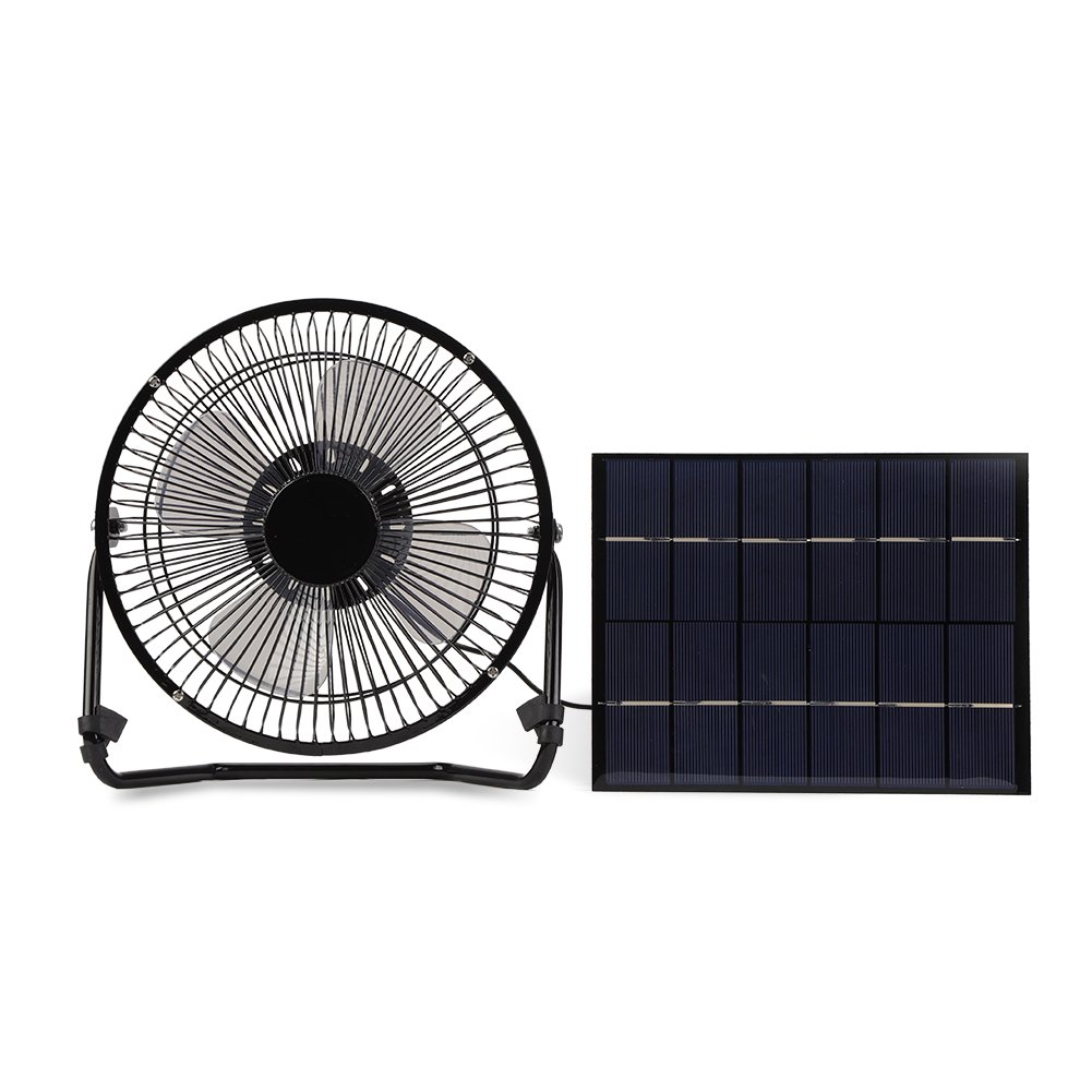 Yosooo 5.2W USB Solar Panel Powered Mini Portable Fan for Cooling Ventilation Outdoor Home Travelling Chicken House Car Ventilation System 8 Inch