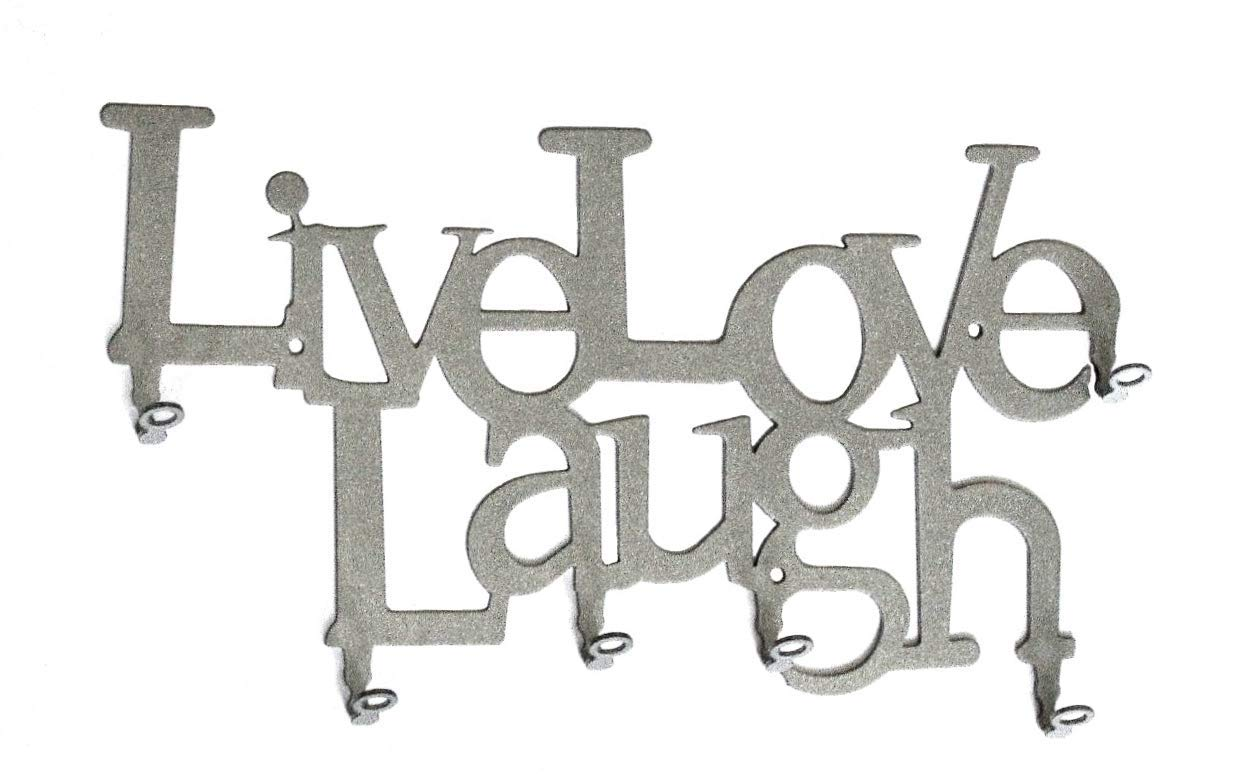 Live Love Laugh metal steel Silver key hook key holder 6 Hooks