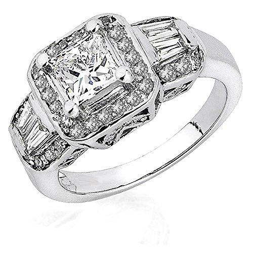 Dazzlingrock Collection 0.55 Carat (ctw) 14K Round & Baguette Diamond Semi Mount Engagement Ring, White Gold, Size 6