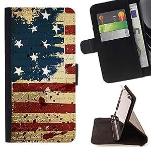 BullDog Case - FOR/Sony Xperia M2 / - / GRUNGE VINTAGE USA FLAG /- Monedero de cuero de la PU Llevar cubierta de la caja con el ID Credit Card Slots Flip funda de cuer