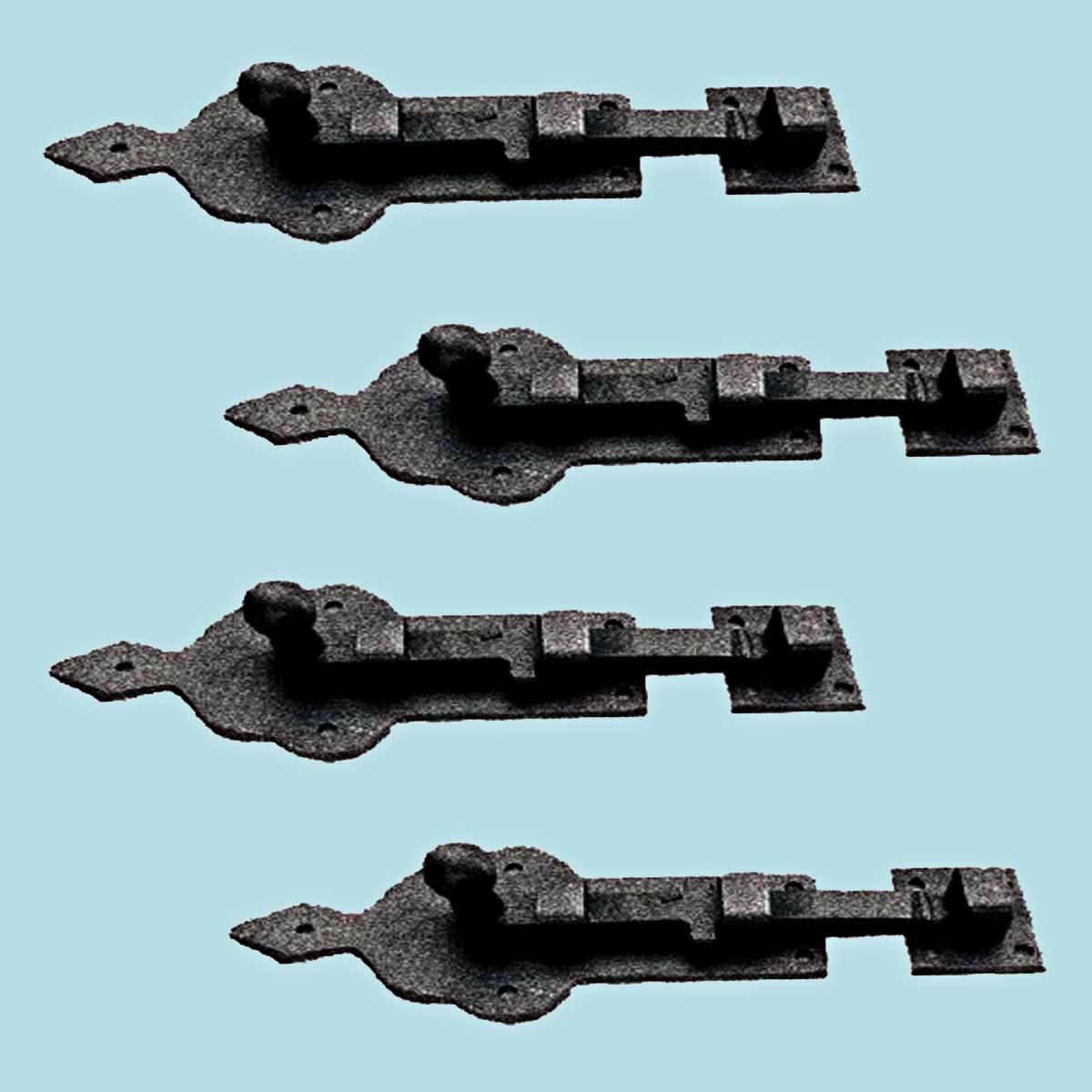 4 Slide Bolts Black Wrought Iron 4'' Wide Set Of 4 by Renovator's Supply (Image #2)