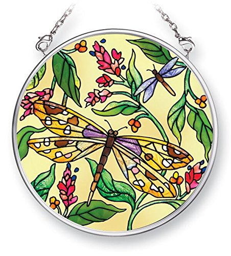 Amia 42476 Hand-Painted Glass Dragonfly Dance, Hand-Painted Glass Circle Suncatcher, 3-1/2