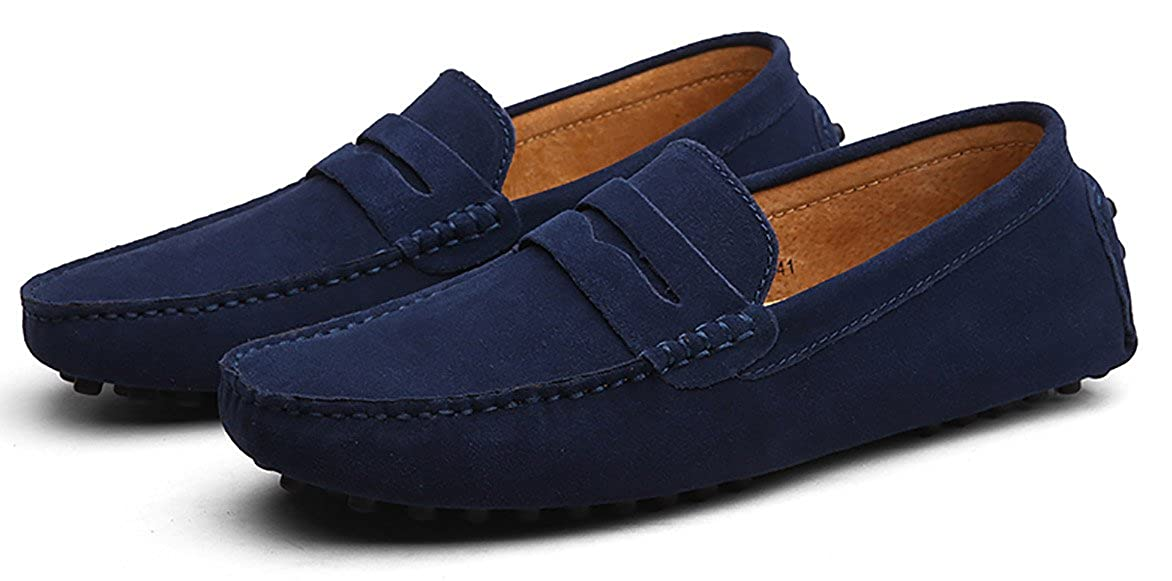 Amazon.com | Go Tour Mens Loafers Penny Moccasins Driving Drivers Casual Dress Suede Leather Slip On Flats Boat Shoes | Loafers & Slip-Ons