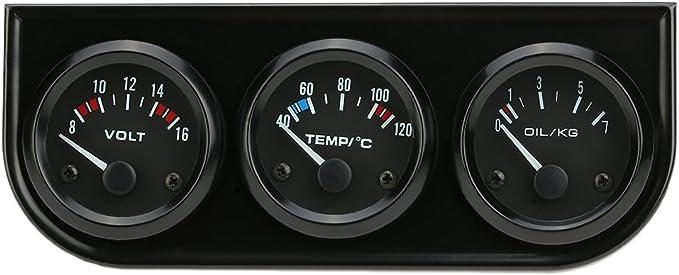 Imagen deKKmoon 52mm Medidor 3 en 1 Voltimetro Medidor de Presion de Aceite Temperatura de Agua Triple Electronica para Coche Motos