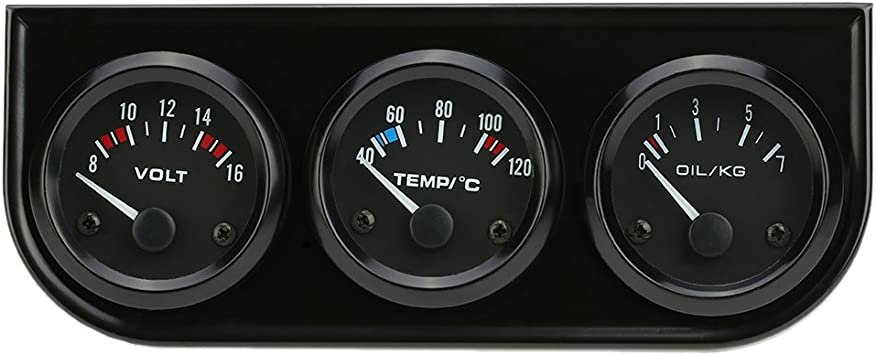 2inch 52mm Black Triple Gauge Set Water Temp Oil Pressure Volt Meter 3 In1 Panel