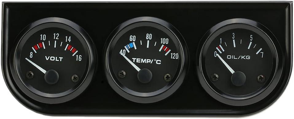 Kkmoon 52mm Elektronisches Dreifach Messgerät Kit Öl Druck Temperatur Messgerät Voltmeter 3 In 1 Auto Motorrad Wasserzähler Auto