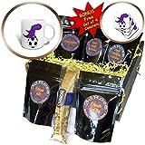 3dRose All Smiles Art Animals - Funny Cool Purple Dragon Playing Soccer Cartoon - Coffee Gift Baskets - Coffee Gift Basket (cgb_275761_1)