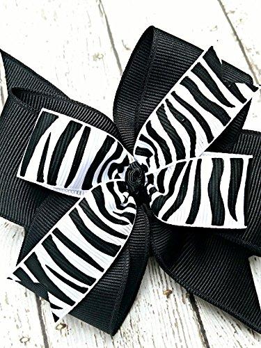 Black One Zebra Wild (Black and White Zebra Print Hair Bow, 4 Inch Layered Boutique Hair Bow, Headband or Hair Clip)