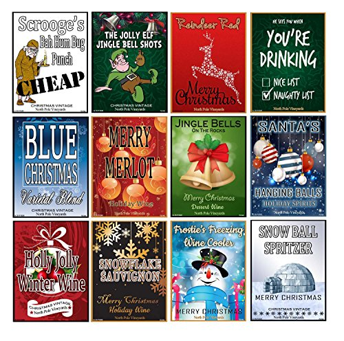 Set of 12 Christmas Wine Bottle Labels - 5 Inch X 4 Inch