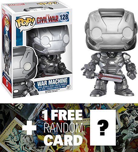 War Machine: Funko POP! x Captain America Civil War Bobble-Head Figure + 1 FREE Official Marvel Trading Card Bundle [72278]